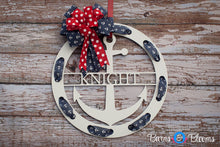 Anchor Family Name Wreath: White or Black with Red