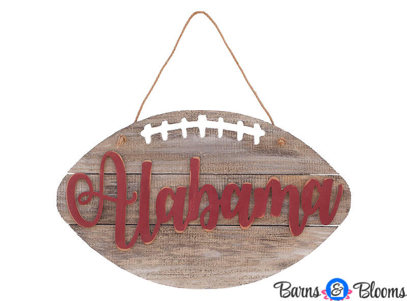 Alabama Football on Weathered Wood Sign