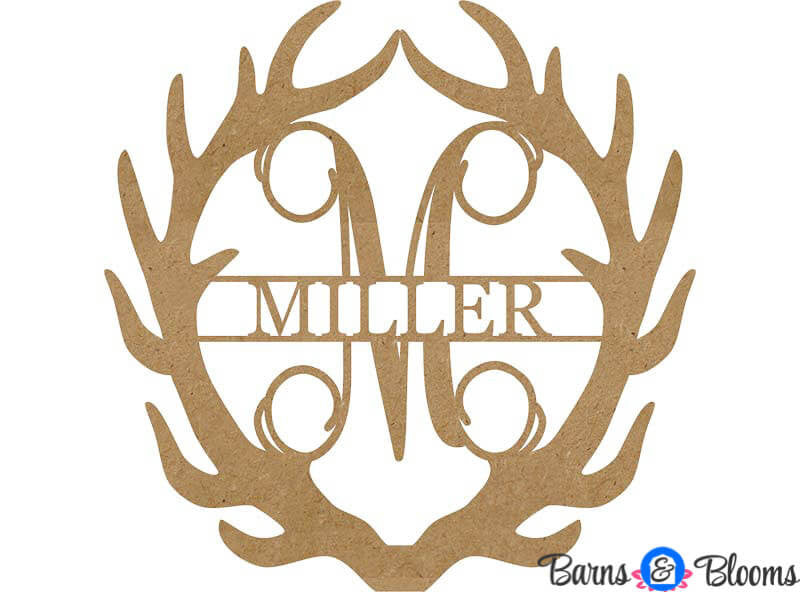 Unpainted Antler Family Monogram Door Hanger