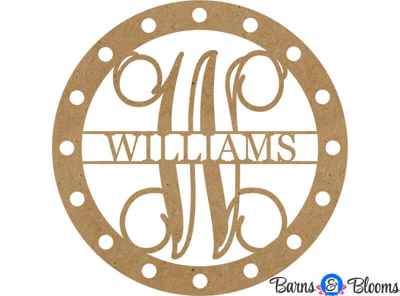 Unpainted Circle Hole Family Monogram Door Hanger
