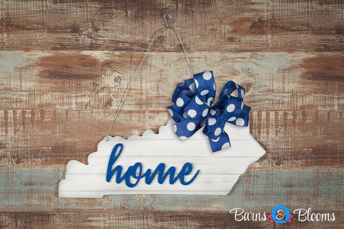 Distressed Kentucky Home State Door Hanger with Bow