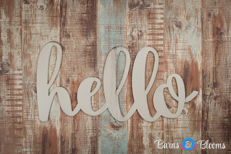 Hello handwritten font wall hanging