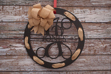 Circular Monogram Family Name Wreath Black