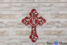 Monogram Door Hanger Cross Red Distressed