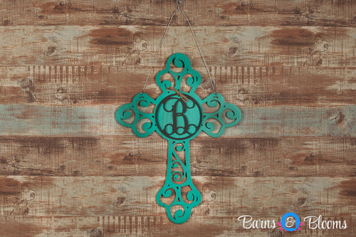 Monogram Door Hanger Cross Teal Distressed