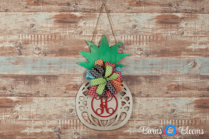 Monogram Pineapple Door Hanger with Bow