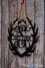 Antler Monogram Wreath with Family Name Black alt