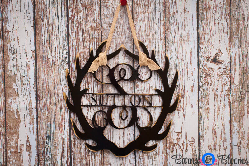 Antler Monogram Wreath with Family Name: Black, White, Cream Distressed