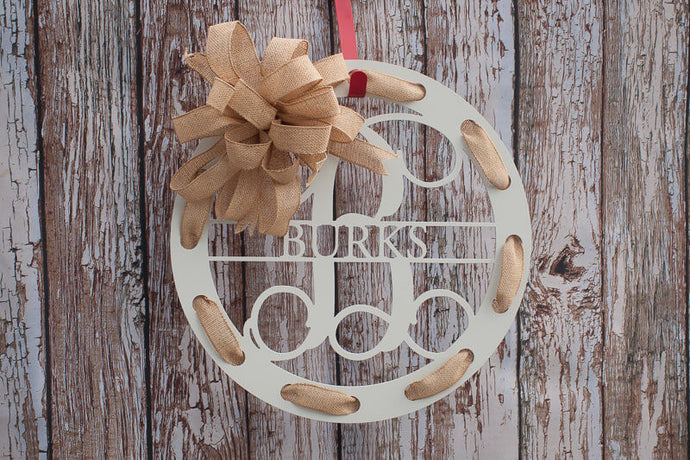 Circular Monogram Family Name Wreath White