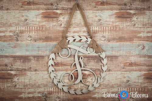Laurel Wreath Initial Door Hanger
