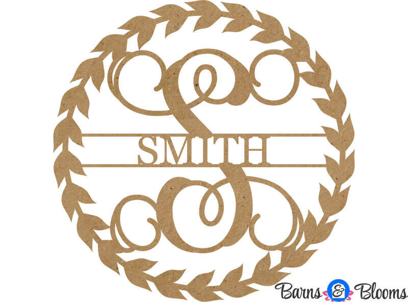 Unpainted Laurel Wreath Family Monogram Door Hanger