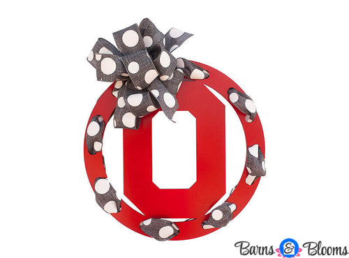 Ohio State Circle Team Wreath Door Hanger