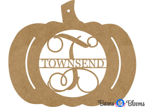 Unpainted Pumpkin Family Name Door Hanger
