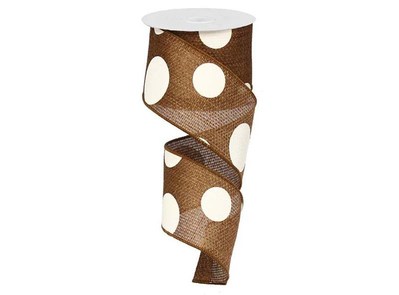 2.5IN X 10YD Brown & Ivory Giant Multi Dots