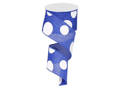 2.5IN X 10YD Royal Blue & White Giant Multi Dots