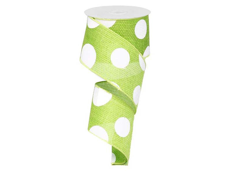 2.5IN X 10YD Lime Green & White Giant Multi Dots