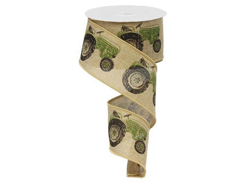 2.5IN X 10YD  Green Tractor On Royal Burlap