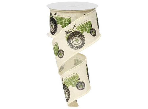 2.5IN X 10YD  Green Tractor On Cream Royal Burlap