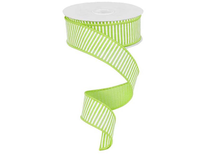1.5IN X 10YD HORIZONTAL STRIPE LIME GREEN & WHITE
