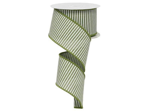 2.5IN X 10YD HORIZONTAL STRIPE CLOVER GREEN & WHITE
