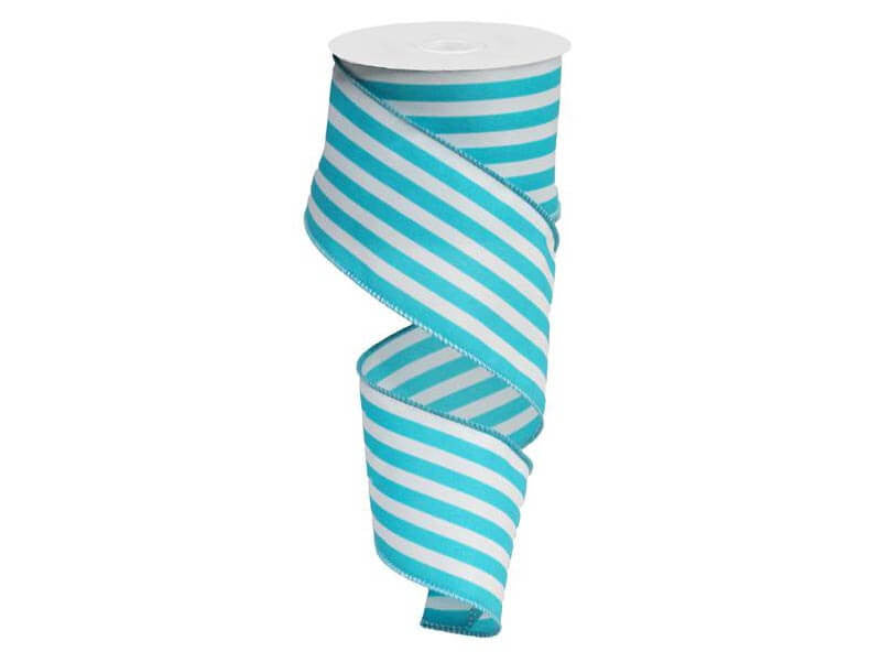 2.5IN X 10YD VERTICAL STRIPE TURQUOISE & WHITE