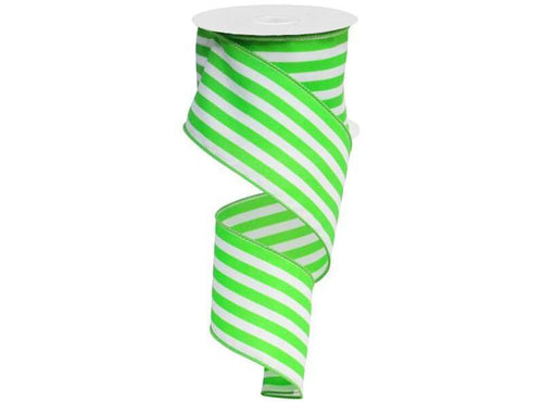 2.5IN X 10YD VERTICAL STRIPE APPLE GREEN & WHITE