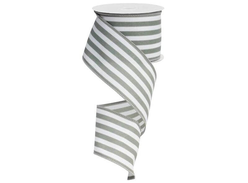 2.5IN X 10YD VERTICAL STRIPE GREY & WHITE