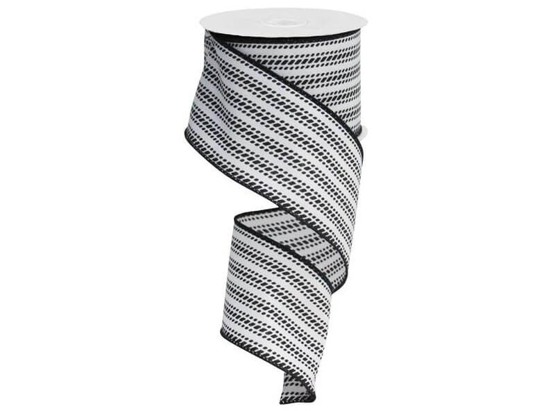 2.5IN X 10YD DASH VERTICAL STRIPE BLACK & WHITE