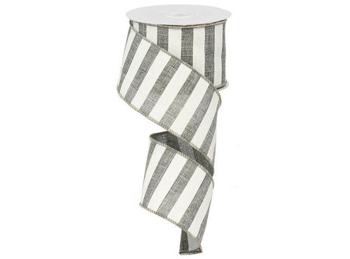 2.5IN X 10YD HORIZONTAL STRIPE GREY & WHITE