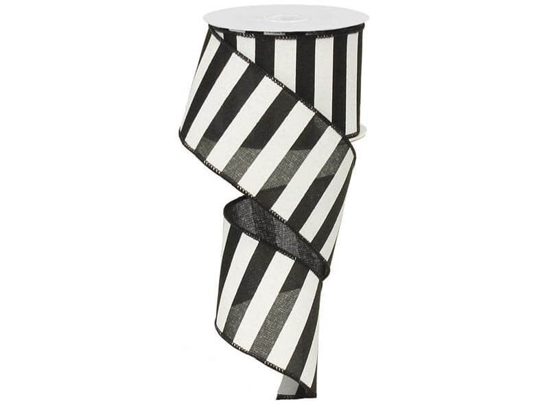 2.5IN X 10YD HORIZONTAL STRIPE BLACK & WHITE