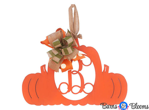 Fall Decor Triple Pumpkin Door Hanger Monogram