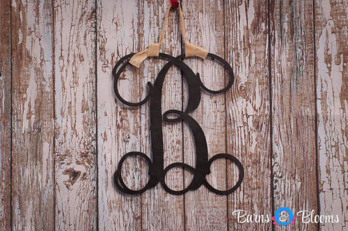 Monogram Door Hanger: Black, White, Cream Distressed
