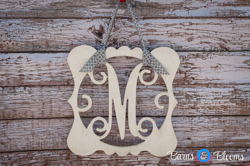 Vintage Style Monogram Wreath: Black, White, Red, Cream Distressed