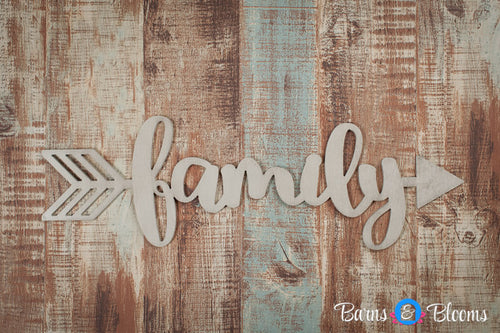 Handwritten Family Arrow Wall Decor