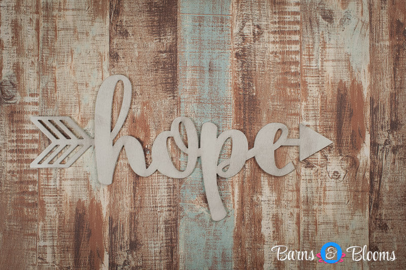 Handwritten Hope Arrow Wall Decor