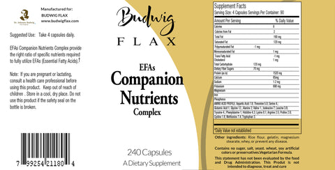 Budwig Diet EFAs Companion Nutrients Complex 500 MG 240 Capsules - budwigflax.com