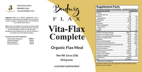 "Flax lignans, ""Vita Flax Complete"" Organic Flax Lignans Meal with Protein - budwigflax.com"