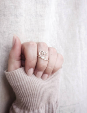 Simple Heart Ring, Heart Jewelry