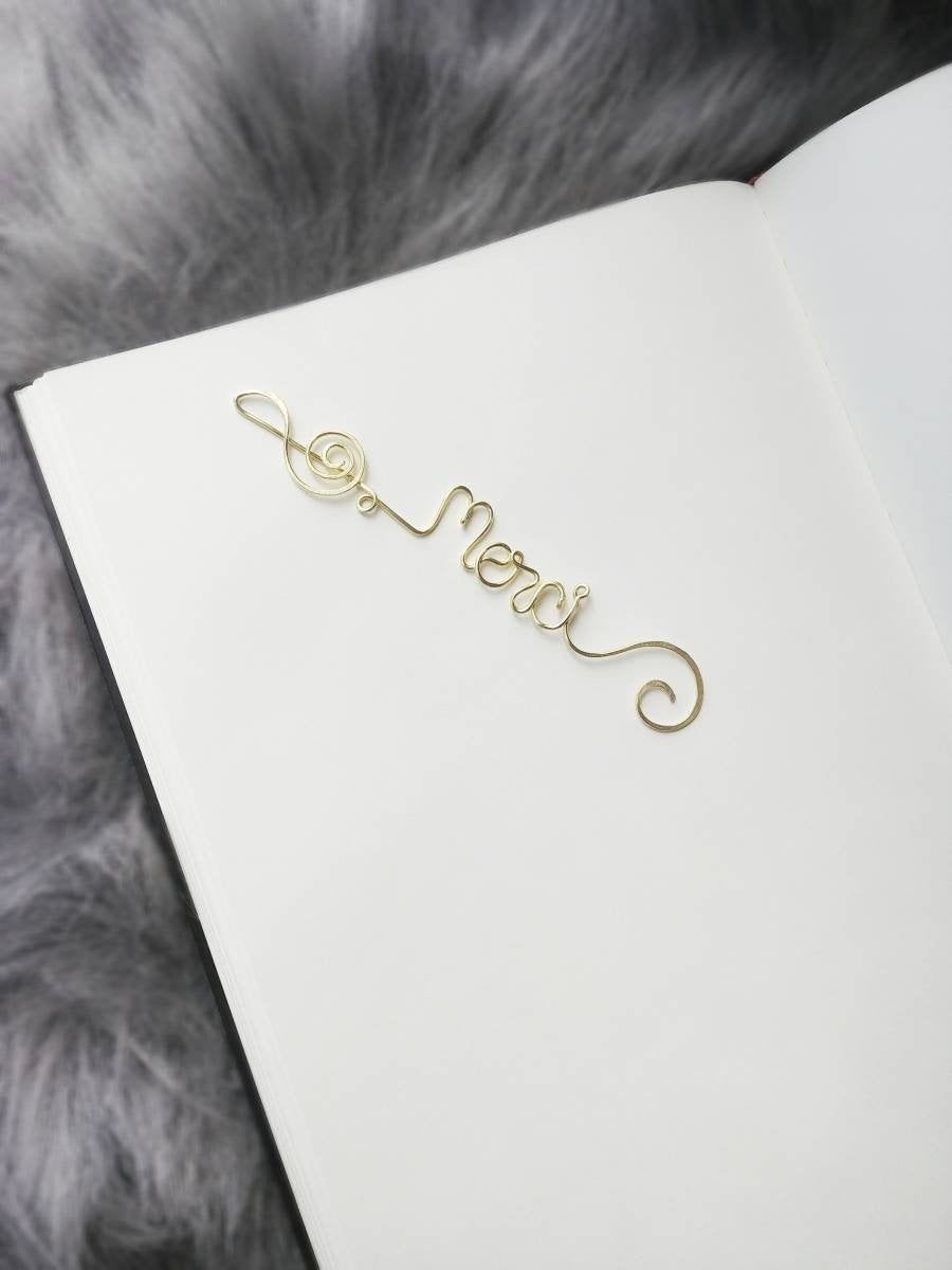 Personalized Treble Clef Bookmark