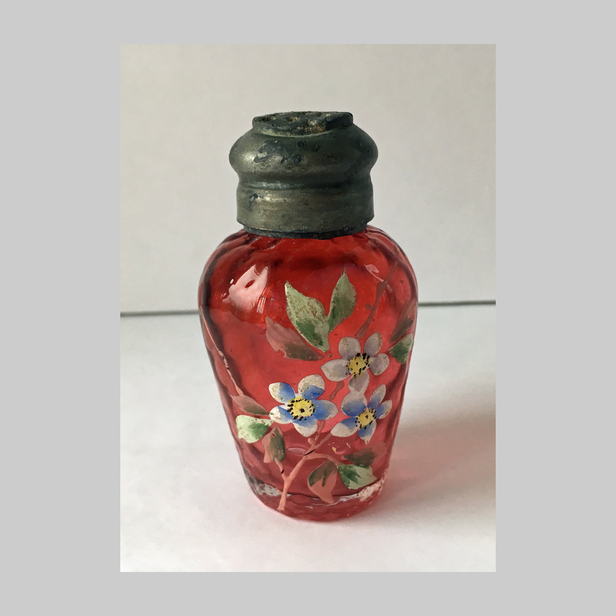 EAPG Hand Painted Victorian Cranberry Glass Salt