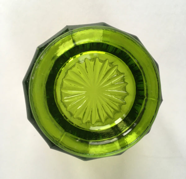 EAPG Colonial Cambridge Green Glass Toothpick Holder bottom view