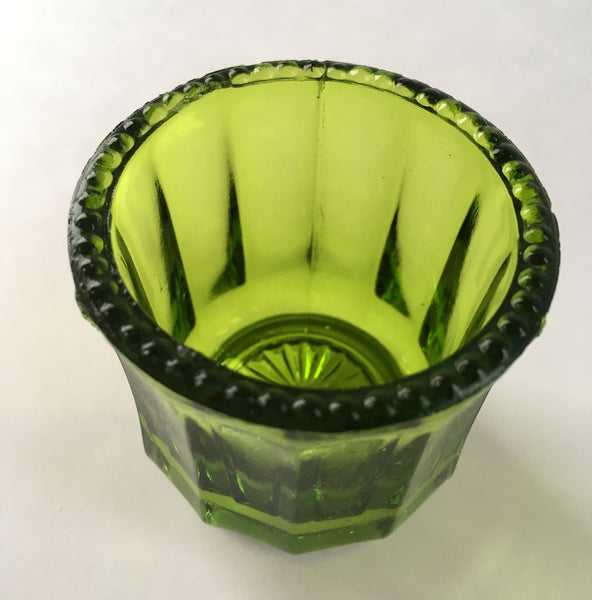 EAPG Colonial Cambridge Green Glass Toothpick Holder inside glass view