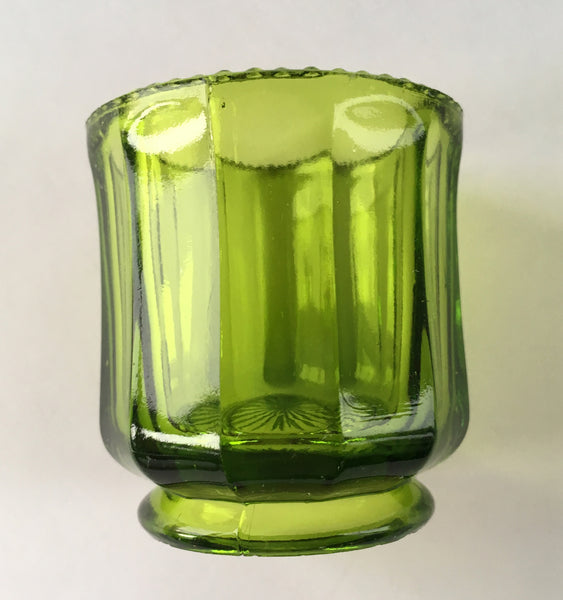 EAPG Colonial Cambridge Green Glass Toothpick Holder side view