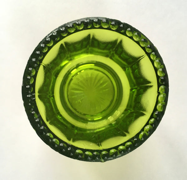 EAPG Colonial Cambridge Green Glass Toothpick Holder inside glass view 2
