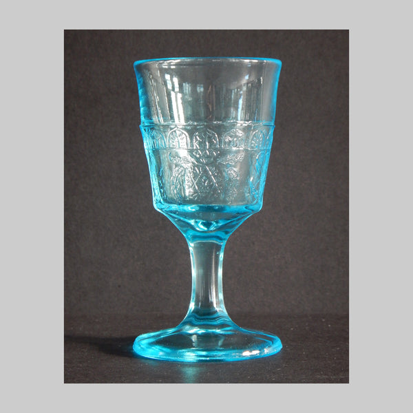 EAPG Blue Wine Glass Scroll with Flowers Pattern main image