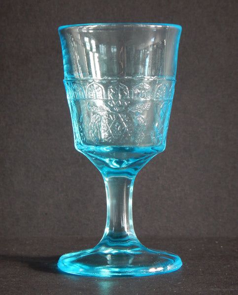 EAPG Blue Wine Glass Scroll with Flowers Pattern full image