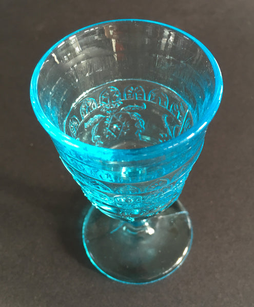 EAPG Blue Wine Glass Scroll with Flowers Pattern angle image 1