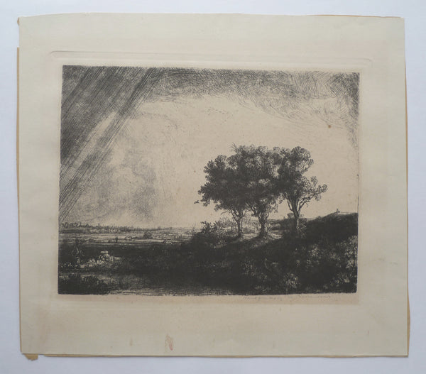 Original Rembrandt plate restrike The Three Trees full image