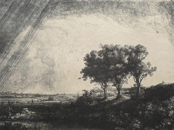 Original Rembrandt plate restrike The Three Trees close up view image 2