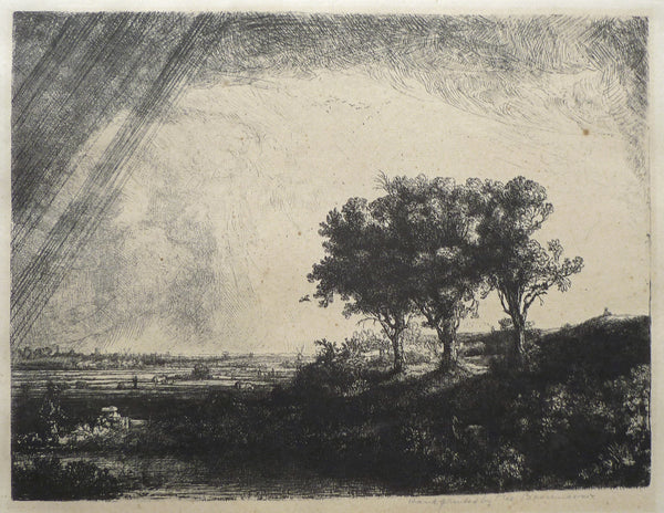 Original Rembrandt plate restrike The Three Trees mat view image